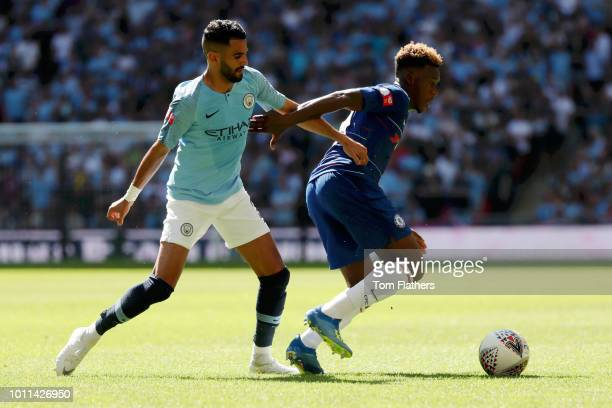 Callum HudsonOdoi of Chelsea is challenged by Riyad Mahrez of Manchester City during the FA Community Shield between Manchester City and Chelsea at...