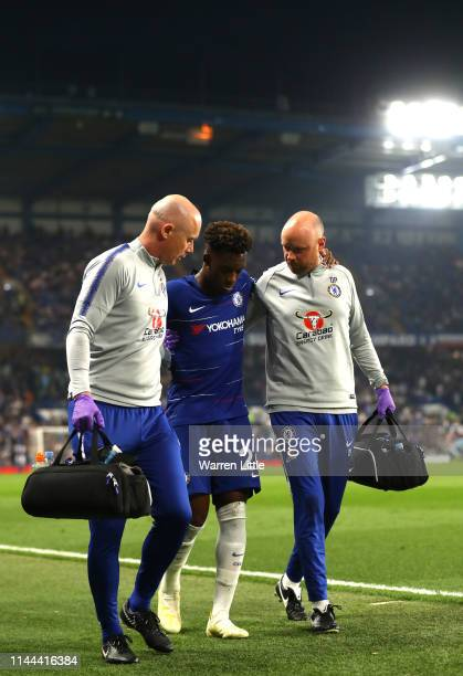 Callum HudsonOdoi of Chelsea is given treatment following an injury during the Premier League match between Chelsea FC and Burnley FC at Stamford...