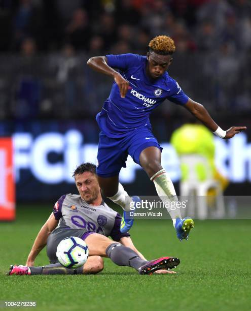 Callum HudsonOdoi of Chelsea is tackled by Dino Djulbic of Perth Glory during the international friendly between Chelsea FC and Perth Glory at Optus...