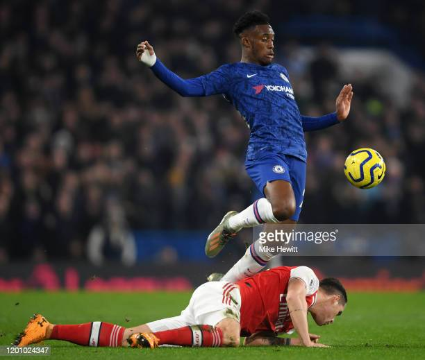Callum Hudson-Odoi of Chelsea is tackled by Granit Xhaka of Arsenal during the Premier League match between Chelsea FC and Arsenal FC at Stamford...