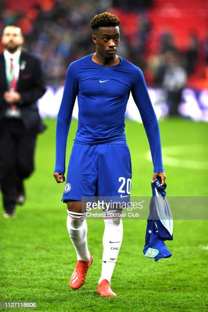 Callum HudsonOdoi of Chelsea looks on after the Carabao Cup Final between Chelsea and Manchester City at Wembley Stadium on February 24 2019 in...