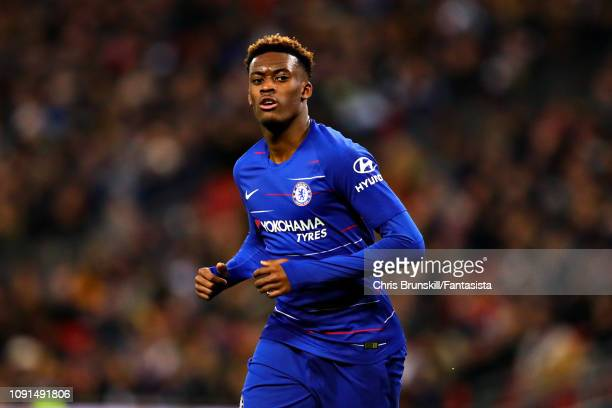Callum HudsonOdoi of Chelsea looks on during the Carabao Cup Semi Final First Leg between Tottenham Hotspur and Chelsea at Wembley Stadium on January...