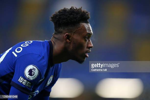 Callum Hudson-Odoi of Chelsea looks on during the Premier League match between Chelsea and Aston Villa at Stamford Bridge on December 28, 2020 in...