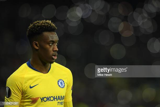 Callum HudsonOdoi of Chelsea looks on during the UEFA Europa League Round of 16 Second Leg match between Dynamo Kyiv and Chelsea at NSC Olimpiyskiy...