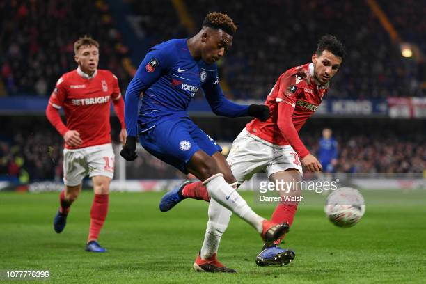 Callum HudsonOdoi of Chelsea plays the ball during the FA Cup Third Round match between Chelsea and Nottingham Forest at Stamford Bridge on January 5...