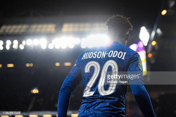 Callum HudsonOdoi of Chelsea prepares to take a corner during the Carabao Cup Round of 16 match between Chelsea and Manchester United at Stamford...
