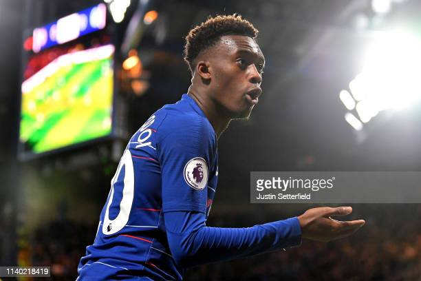 Callum HudsonOdoi of Chelsea reacts during the Premier League match between Chelsea FC and Brighton Hove Albion at Stamford Bridge on April 03 2019...