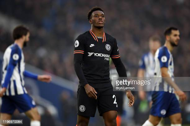 Callum Hudson-Odoi of Chelsea reacts during the Premier League match between Brighton & Hove Albion and Chelsea FC at American Express Community...