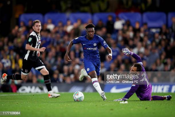 Callum HudsonOdoi of Chelsea runs round James McKeown of Grimsby Town during the Carabao Cup Third Round match between Chelsea FC and Grimsby Town at...