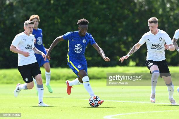 Callum Hudson-Odoi of Chelsea runs with the ball during a Pre-Season Friendly between Chelsea and Peterborough United at Chelsea Training Ground on...