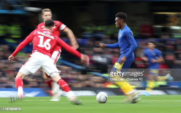Callum HudsonOdoi of Chelsea runs with the ball during the FA Cup Third Round match between Chelsea and Nottingham Forest at Stamford Bridge on...