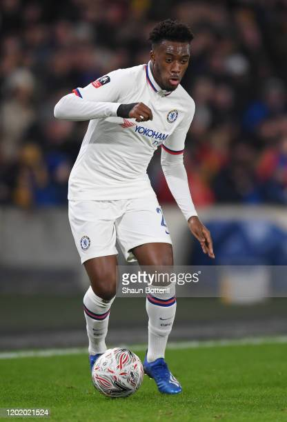 Callum HudsonOdoi of Chelsea runs with the ball during the FA Cup Fourth Round match between Hull City and Chelsea FC at KCOM Stadium on January 25...