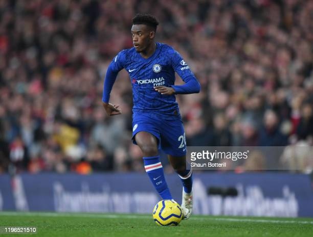 Callum Hudson-Odoi of Chelsea runs with the ball during the Premier League match between Arsenal FC and Chelsea FC at Emirates Stadium on December...