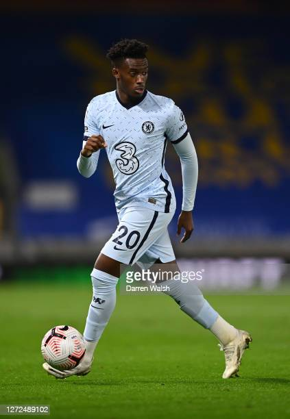 Callum Hudson-Odoi of Chelsea runs with the ball during the Premier League match between Brighton & Hove Albion and Chelsea at American Express...