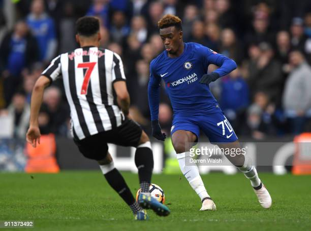 Callum HudsonOdoi of Chelsea runs with the ball under pressure from Jacob Murphy of Newcastle United during The Emirates FA Cup Fourth Round match...