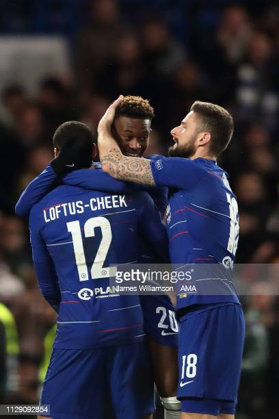 Callum HudsonOdoi of Chelsea scores a goal to make it 30 during the UEFA Europa League Round of 16 First Leg match between Chelsea and Dynamo Kyiv at...