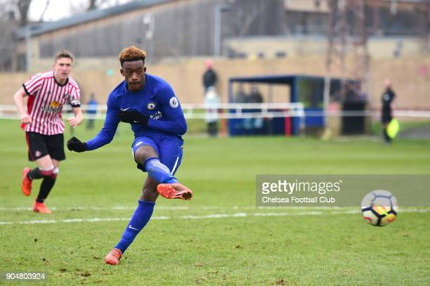 Callum HudsonOdoi of Chelsea scores Chelsea's fifth goal from the penalty spot during the Premier League 2 match between Sunderland U23 and Chelsea...