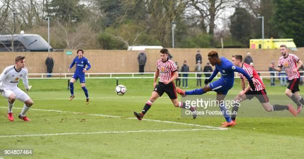 Callum HudsonOdoi of Chelsea scores Chelsea's second goal during the Premier League 2 match between Sunderland U23 and Chelsea U23 at Eppleton...