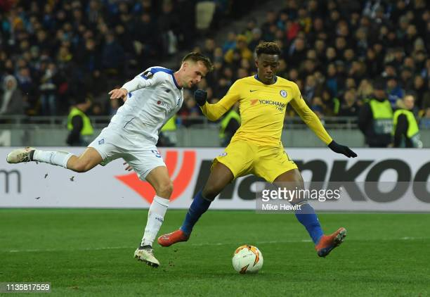 Callum HudsonOdoi of Chelsea scores his team's fifth goal during the UEFA Europa League Round of 16 Second Leg match between Dynamo Kyiv and Chelsea...