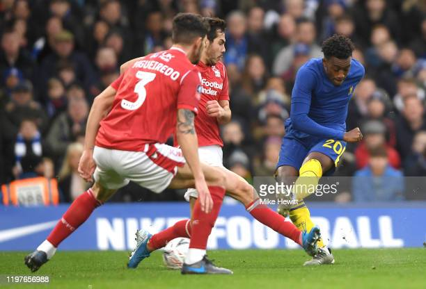 Callum Hudson-Odoi of Chelsea scores his team's first goal during the FA Cup Third Round match between Chelsea and Nottingham Forest at Stamford...