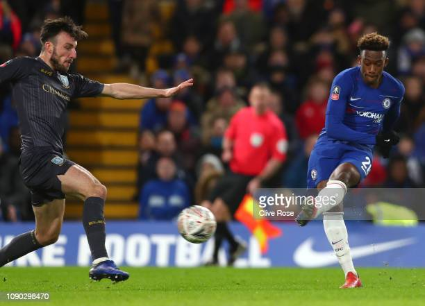 Callum Hudson-Odoi of Chelsea scores his team's second goal during the FA Cup Fourth Round match between Chelsea and Sheffield Wednesday at Stamford...