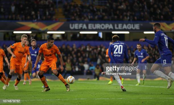 Callum HudsonOdoi of Chelsea scores his team's third goal during the UEFA Europa League Group L match between Chelsea and PAOK at Stamford Bridge on...