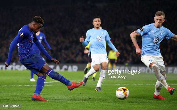 Callum HudsonOdoi of Chelsea scores his team's third goal during the UEFA Europa League Round of 32 Second Leg match between Chelsea and Malmo FF at...