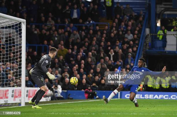 Callum Hudson-Odoi of Chelsea scores his team's third goal during the Premier League match between Chelsea FC and Burnley FC at Stamford Bridge on...
