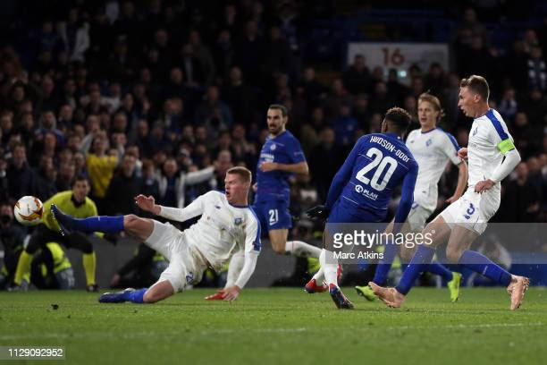 Callum HudsonOdoi of Chelsea scores their 3rd goal during the UEFA Europa League Round of 16 First Leg match between Chelsea and Dynamo Kyiv at...