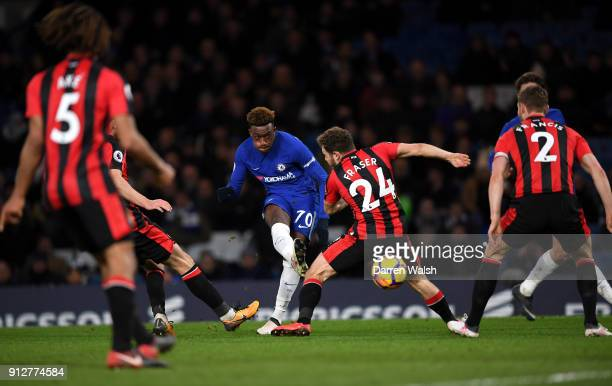 Callum HudsonOdoi of Chelsea shoots at goal past Ryan Fraser of AFC Bournemouth during the Premier League match between Chelsea and AFC Bournemouth...