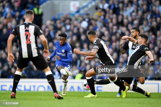 Callum HudsonOdoi of Chelsea shoots during the Premier League match between Chelsea FC and Newcastle United at Stamford Bridge on October 19 2019 in...