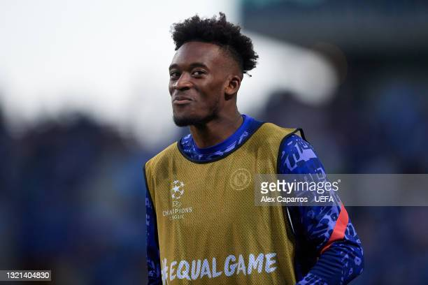 Callum Hudson-Odoi of Chelsea smiles as he warms up during the UEFA Champions League Final between Manchester City and Chelsea FC at Estadio do...