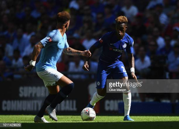 Callum HudsonOdoi of Chelsea takes on Kyle Walker of Manchester City during the FA Community Shield between Manchester City and Chelsea at Wembley...