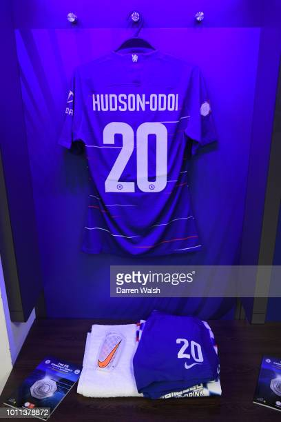 Callum HudsonOdoi of Chelsea's shirt is seen inside the Chelsea dressing room prior to the FA Community Shield between Manchester City and Chelsea at...