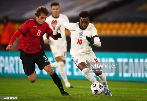 Callum Hudson-Odoi of England in action with Redon Mihana of Albania during the UEFA Euro Under 21 Qualifier match between England U21 and Albania...