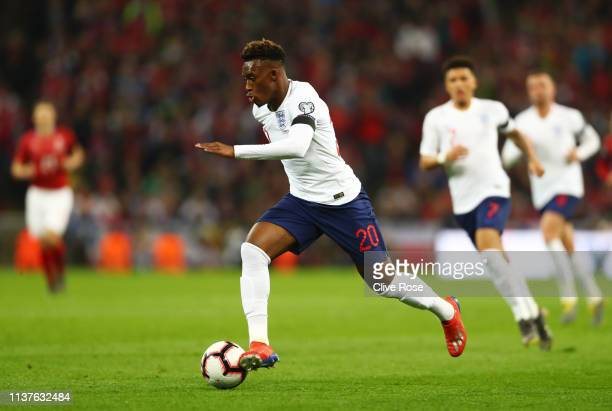 Callum HudsonOdoi of England runs with the ball during the 2020 UEFA European Championships Group A qualifying match between England and Czech...
