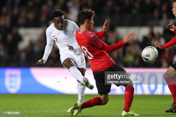 Callum Hudson-Odoi of England scores a goal to make it 4-0 during the UEFA Under 21 Championship Qualifier between England and Austria at Stadium MK...