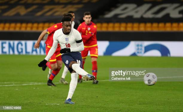 Callum Hudson-Odoi of England scores his team's third goal from a penalty during the UEFA Euro Under 21 Qualifier match between England U21 and...