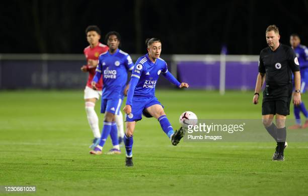 Callum Hulme of Leicester City during the Premier League 2 match between Leicester City and Manchester United at Leicester City Training Ground, on...