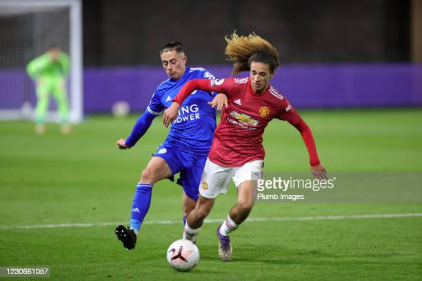 Callum Hulme of Leicester City in action with Hannibal Mejbri of Manchester United during the Premier League 2 match between Leicester City and...