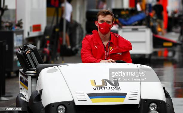 Callum Ilott of Great Britain and UNI-Virtuosi Racing drives a vehicle in the Paddock during previews for the Formula 2 Championship at Red Bull Ring...