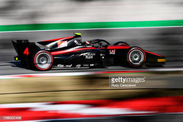 Callum Ilott of Great Britain and UNI-Virtuosi Racing drives during qualifying for the Formula 2 Championship at Circuit de Barcelona-Catalunya on...