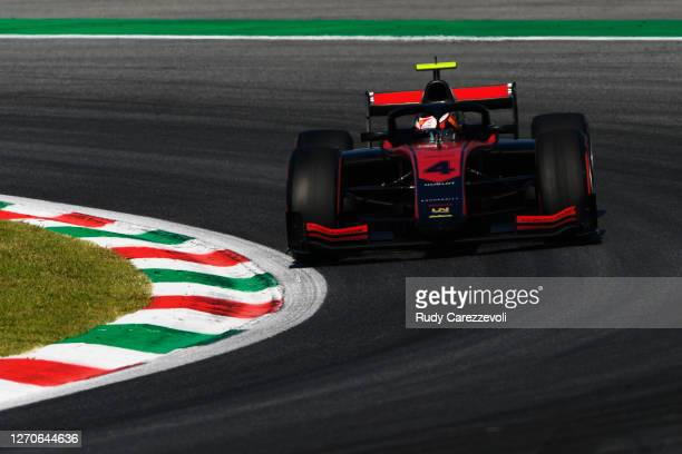 Callum Ilott of Great Britain and UNI-Virtuosi Racing drives during qualifying for the Formula 2 Championship at Autodromo di Monza on September 04,...
