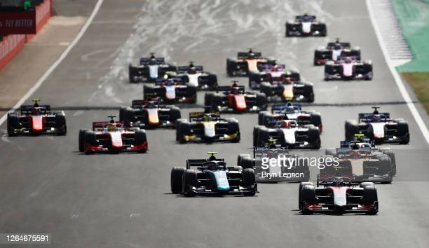 Callum Ilott of Great Britain and UNI-Virtuosi Racing drives leads the field into turn one at the start during the feature race of the Formula 2...