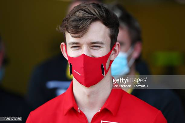 Callum Ilott of Great Britain and UNI-Virtuosi Racing is pictured at the UNI-Virtuosi Racing team photo during previews ahead of Round 12:Sakhir of...