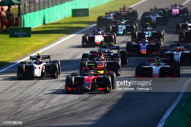 Callum Ilott of Great Britain and UNI-Virtuosi Racing leads the field at the start of the race during the feature race for the Formula 2 Championship...