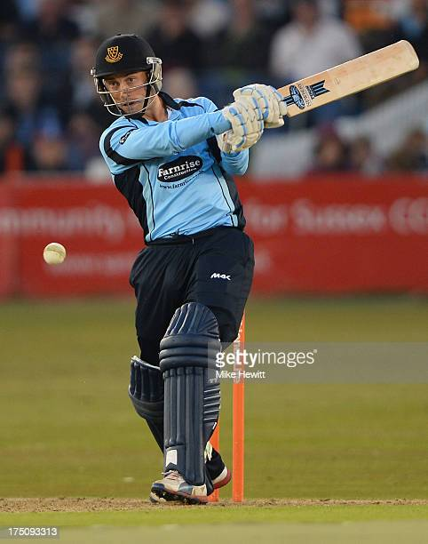 Callum Jackson of Sussex in action during the Friends Life T20 match between Sussex Sharks and Kent Spitfires at BrightonandHoveJobscom County Ground...