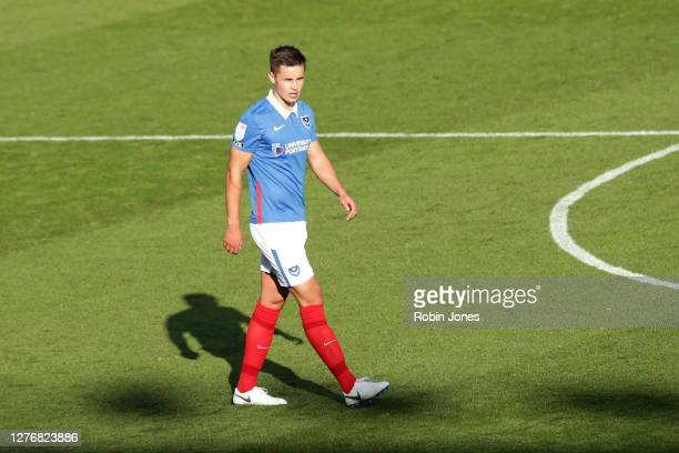 Callum Johnson of Portsmouth FC during the Sky Bet League One match between Portsmouth and Wigan Athletic at Fratton Park on September 26, 2020 in...