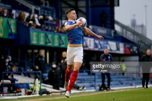 Callum Johnson of Portsmouth FC during the Sky Bet League One match between Portsmouth and Peterborough United at Fratton Park on December 05, 2020...