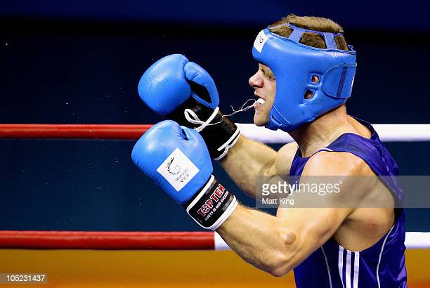 Callum Johnson of Scotland celebrates winning the Light Heavy Weight Men Finals Gold Medal Bout against Thomas McCarthy of Northern Ireland at...